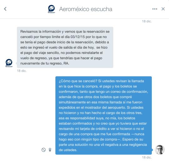 Aeroméxico me mandó a volar: carta a Andrés Conesa.